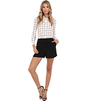 Vince Camuto - Windowpane Romper w/ Solid Crepe Shorts