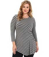 Vince Camuto Plus - Plus Size Nordic Stripe Side Ruched Top