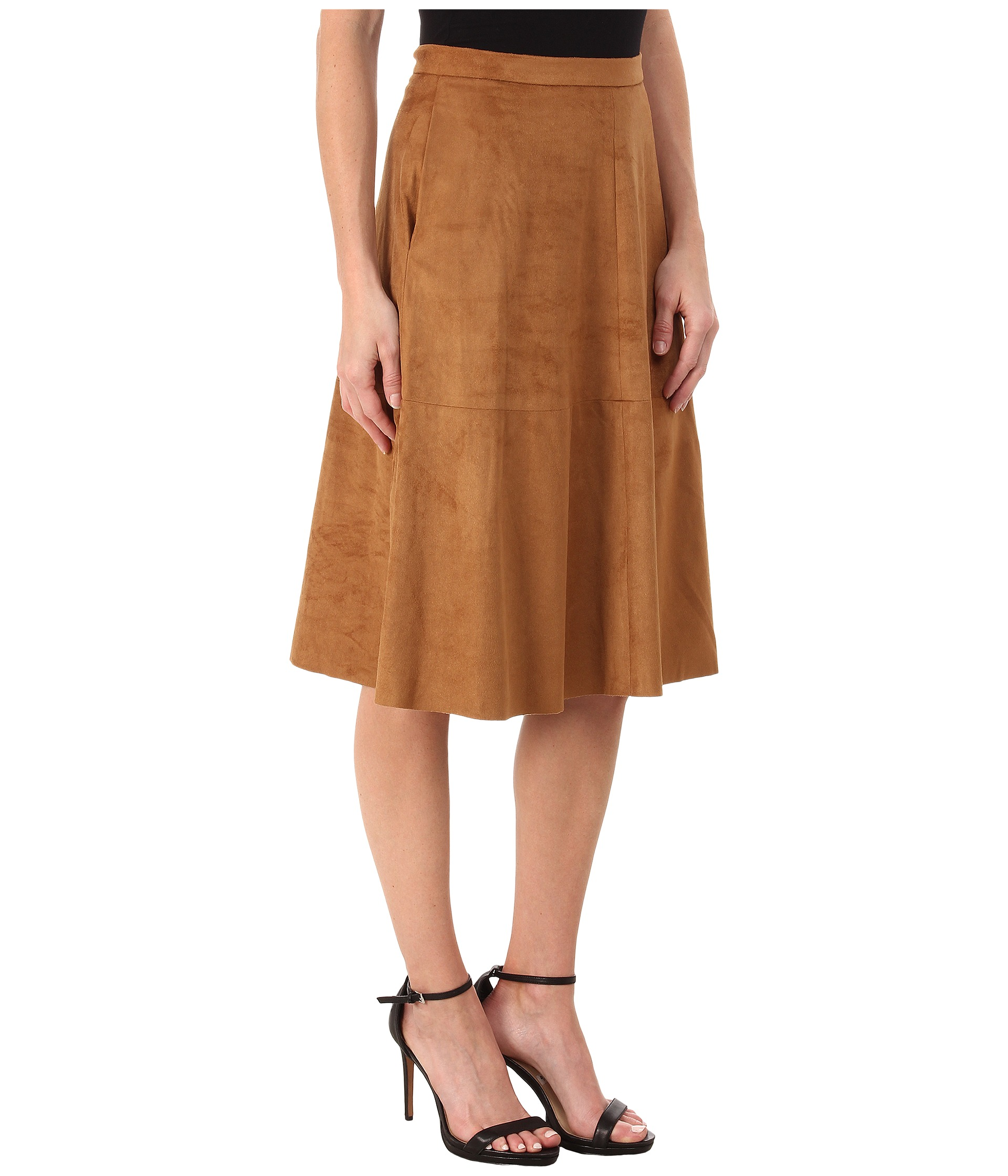 vince camuto faux suede midi skirt