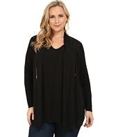 Vince Camuto Plus - Plus Size Mixed Media Top w/ Chiffon Overlay