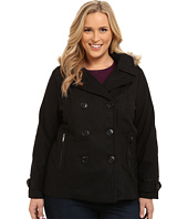 dollhouse - Plus Size-Double Breasted Peacoat w/ Back Belt Detail & Det Faux Fur Hood