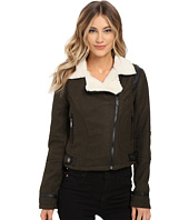 dollhouse - Asymetric Zip Jacket w/ Pile Collar & PU Trim