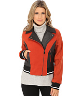 dollhouse - Asymetric Zip Baseball Jacket w/ Striped Knit Trim