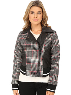 Dollhouse Asymetric Zip Baseball Jacket w/Striped Knit Trim Womens