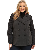 dollhouse - Plus Size-Double Breasted Peacoat w/ Quilted Poly Sleeves