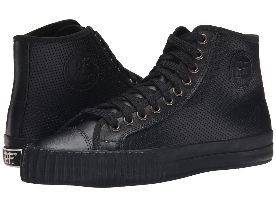 PF Flyers - Center Hi Leather Perf Black Mens Shoes $70.00 AT vintagedancer.com