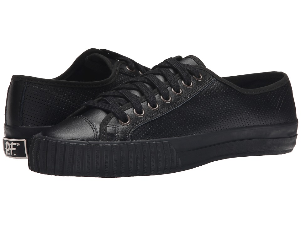 PF Flyers Center Lo Leather Perf Black Mens Shoes