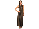 Donna Morgan Sleeveless Pleated Gown w/ Belt (Black/Gold)