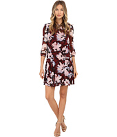 Donna Morgan - 3/4 Sleeve Printed Chiffon Dress with Pleated Skirt