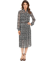 Donna Morgan - Long Sleeve Chiffon Midi Dress with Neck Tie