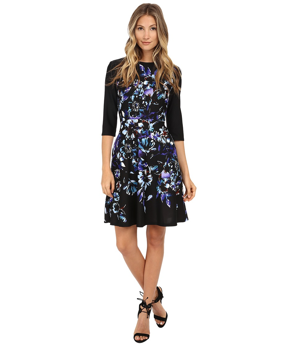 Donna Morgan 3/4 Sleeve Printed Scuba Fit and Flare Dress Bluebell Multi Womens Dress