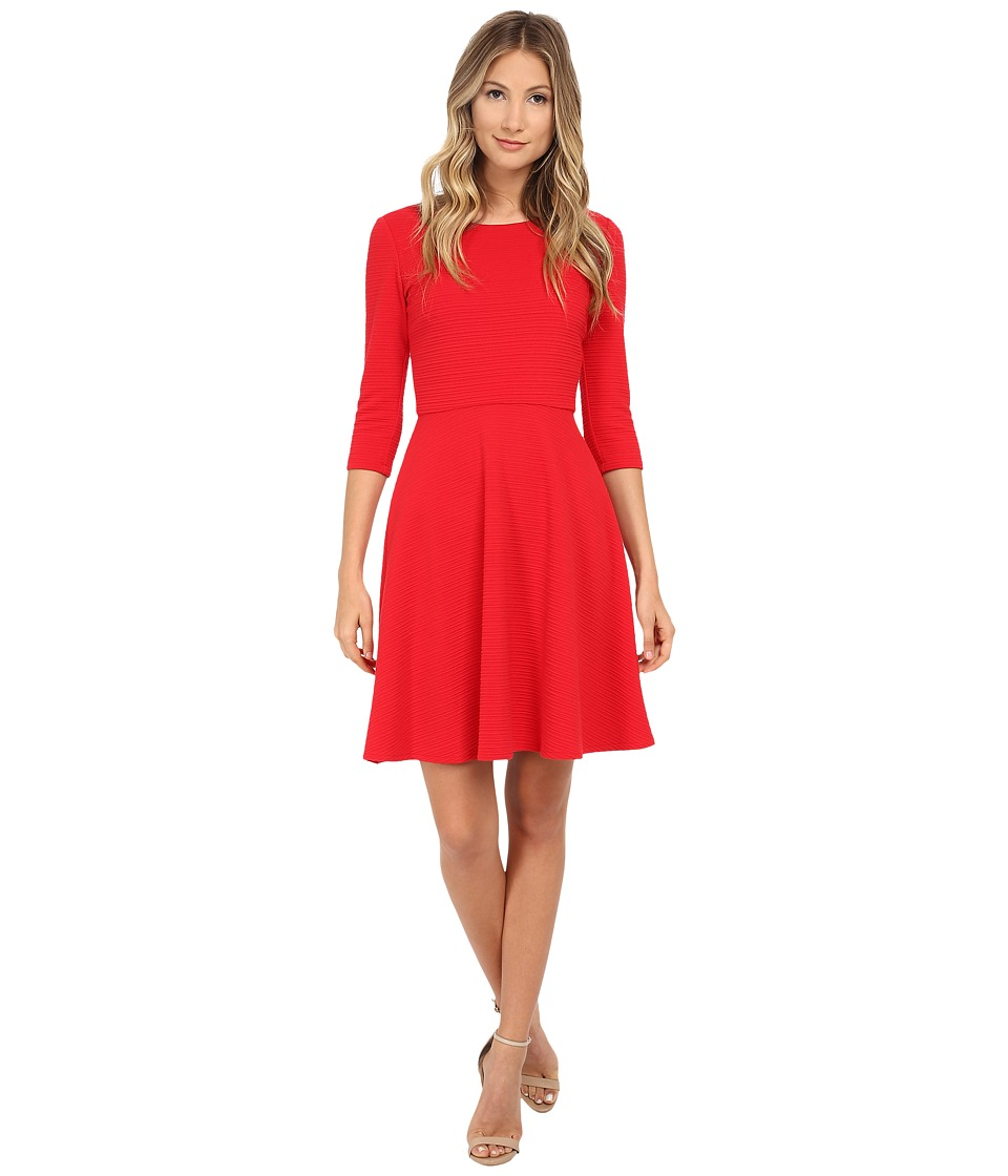 Donna Morgan 3/4 Sleeve Wavy Knit Fit and Flare Dress Cherry Womens Dress