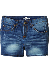 7 For All Mankind Kids - Midroll Shorts in Distressed Authentic (Big Kids)