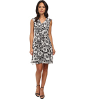 Adrianna Papell - Ruffle Front V-Neck Fit and Flare Dress