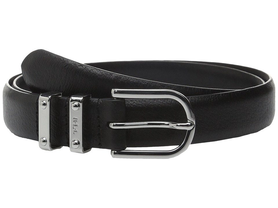 LAUREN Ralph Lauren - Classics 1 Embossed Leather w/ Double Metal Keeper (Black) Womens Belts