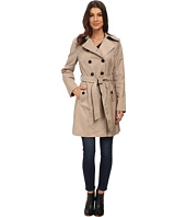 DKNY - Double Breasted Belted Trench with Faux Leather Trim