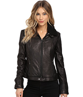 DKNY - Zip Front Leather with Berber Collar
