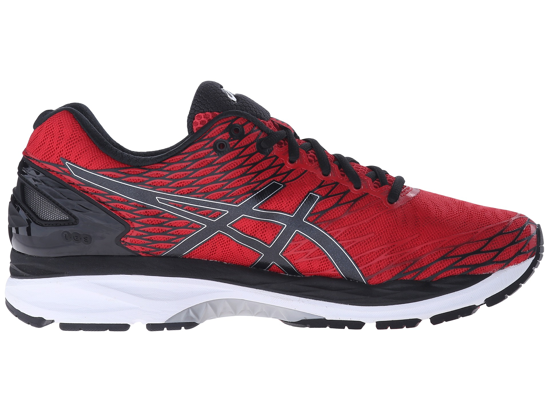 asics gel nimbus 18 racing red black silver