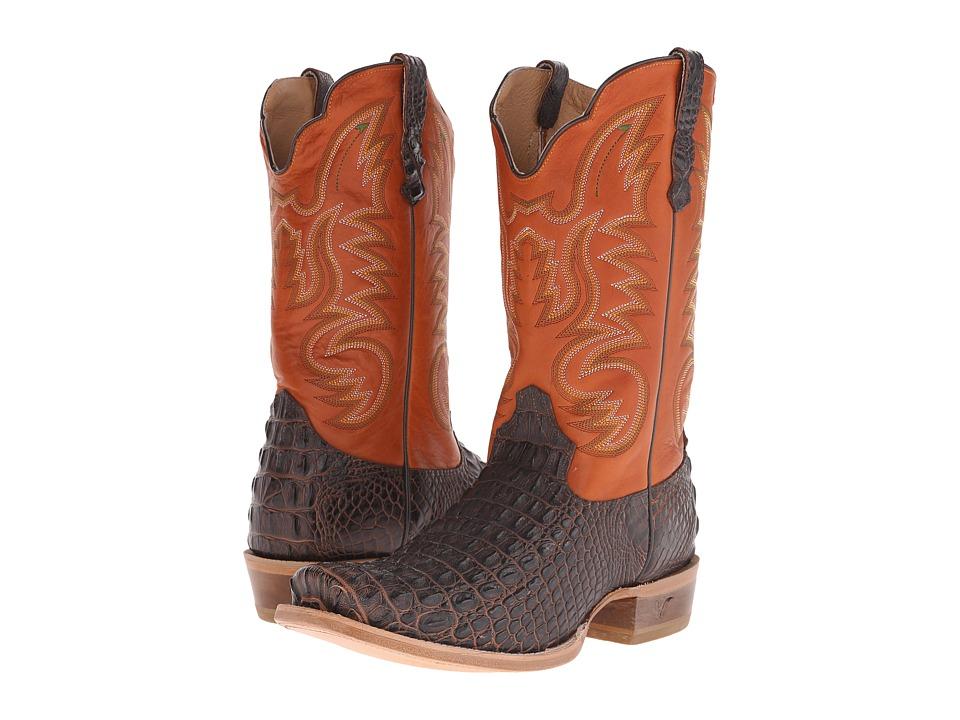 Old West Boots 60004 Brandy Hornback Caiman Print/Adrian Cognac Cowboy Boots
