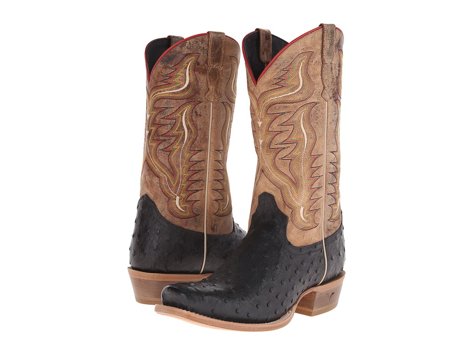 Old West Boots 60001 Black Ostrich Print/Tan Road Cowboy Boots