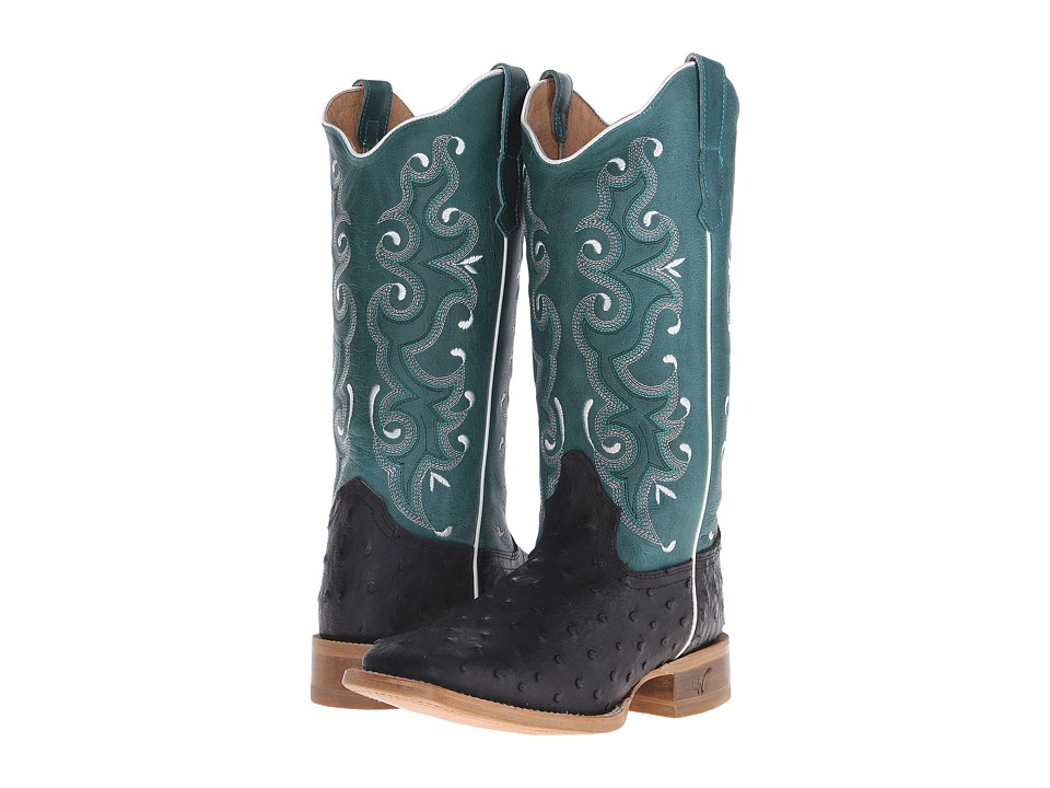 Old West Boots 70054 Black Ostrich Print/Collazo Turquoise Cowboy Boots
