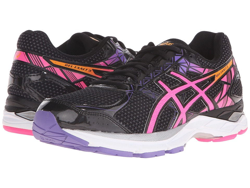 ASICS - Gel-Exalt 3 (Black/Pink Glow/Iris) Womens Running Shoes