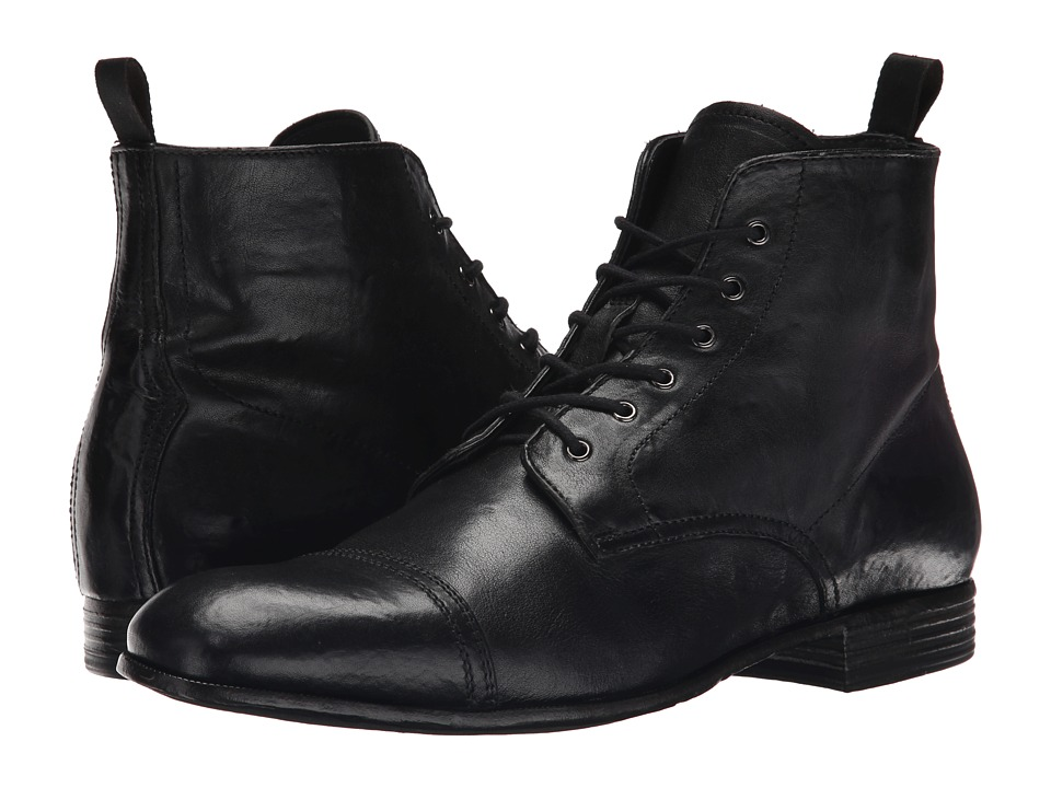 Alexander McQueen Washed Lace Up Boot Black Mens Lace up Boots