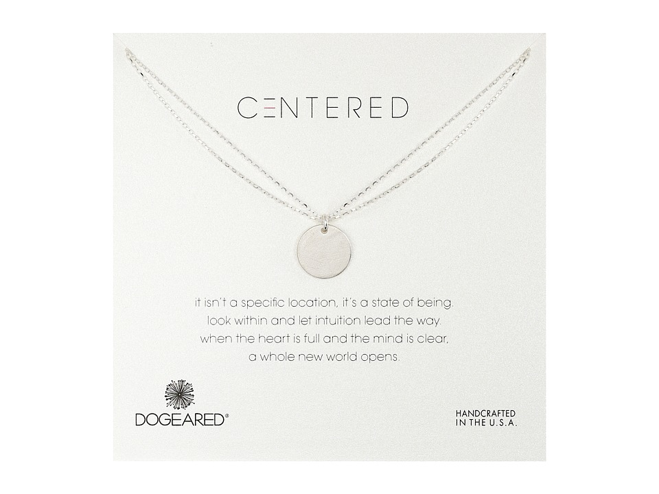 Dogeared Centered Large Circle Charm On Double Chain Necklace Sterling Silver Necklace
