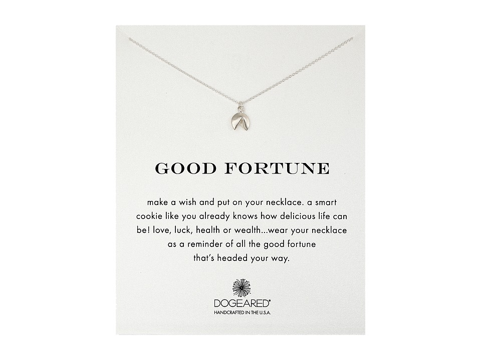 Dogeared Good Fortune Fortune Cookie Reminder Necklace Sterling Silver Necklace