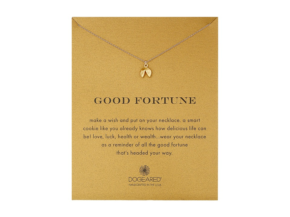 Dogeared Good Fortune Fortune Cookie Reminder Necklace Gold Dipped Necklace