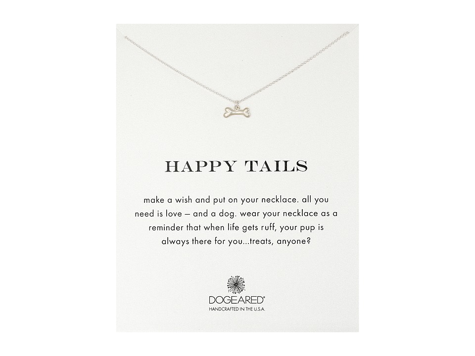 Dogeared Happy Tails Dog Bone Necklace Sterling Silver Necklace