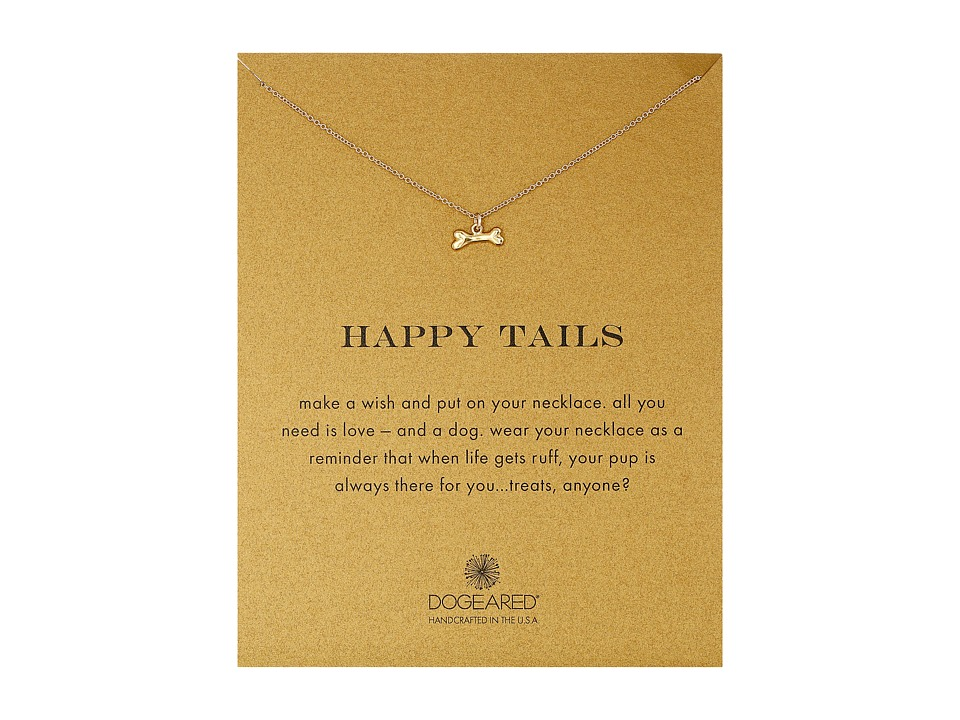 Dogeared Happy Tails Dog Bone Necklace Gold Dipped Necklace