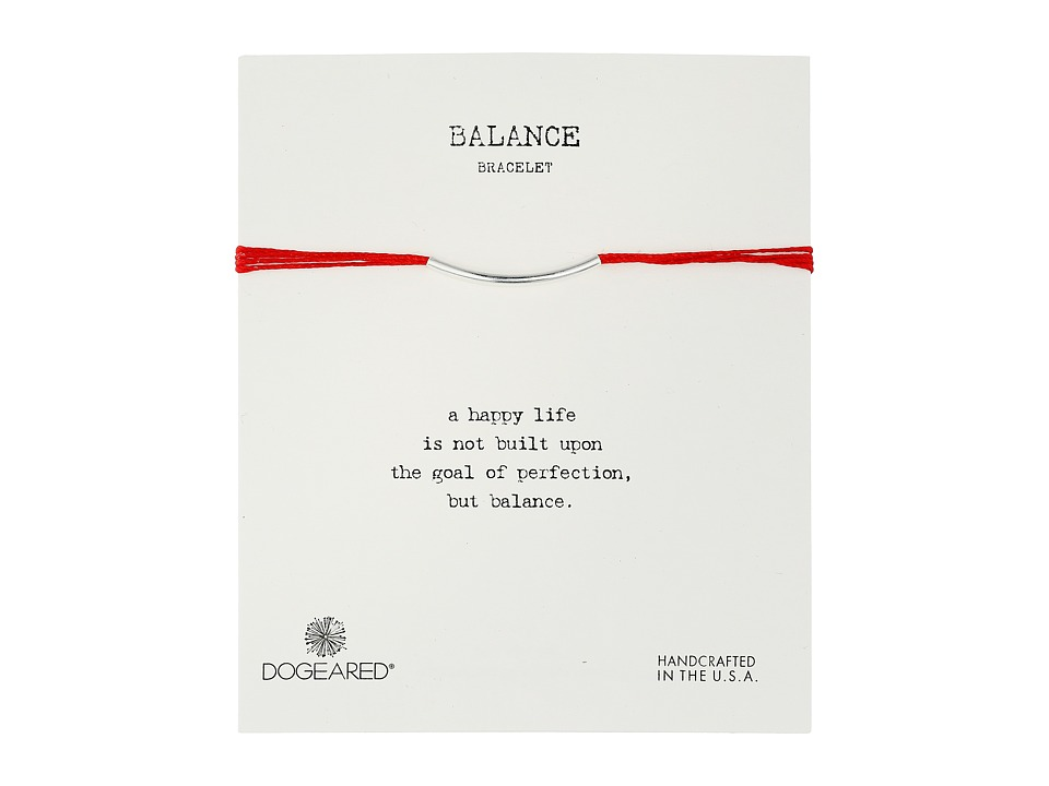 Dogeared Balance Bar Silk Bracelet Red Sterling Silver Bracelet