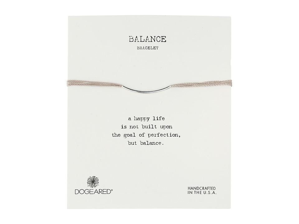 Dogeared Balance Bar Silk Bracelet Taupe Sterling Silver Bracelet