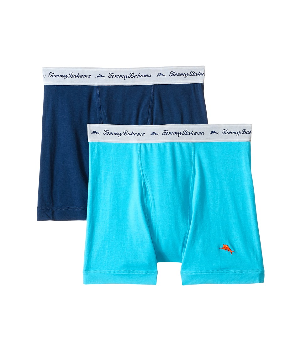 Tommy Bahama - Solid Stretch Cotton Comfort Boxer Briefs 2-Pack (Aqua/Neptune) Men's Underwear