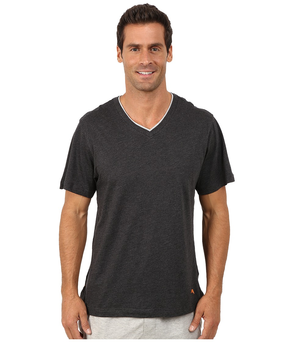 Tommy Bahama Heather Cotton Modal Jersey Tee (Black Heather) Men