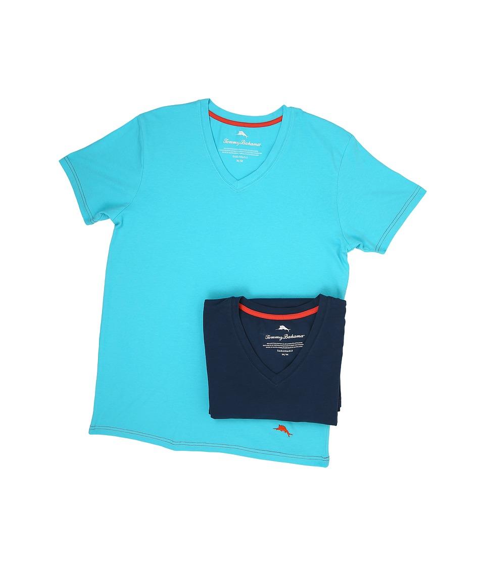 Tommy Bahama - Solid Stretch Cotton Comfort V-Neck T-Shirt 2-Pack (Aqua/Neptune) Men