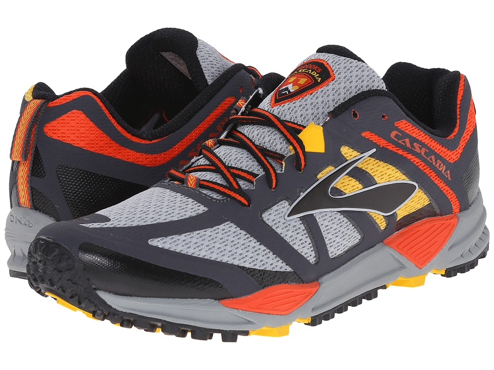 Brooks Cascadia 11 (River Rock/CherryTomato/Spectra Yellow) Men