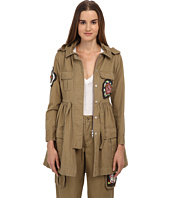 RED VALENTINO - Gabardine Military Style Jacket w/ Beaded Patches