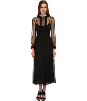 RED VALENTINO - Shear Tulle w/ Lace Detail Long Dress
