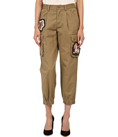 RED VALENTINO - Cotton Gabardine Pants w/ Hand Beaded Patches