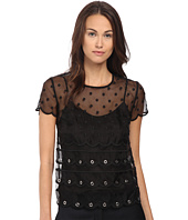RED VALENTINO - Silk Organza Tulle w/ Eyelet and Polka Detail Blouse