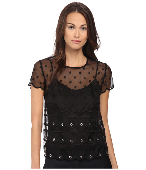 RED VALENTINO Silk Organza Tulle w/ Eyelet and Polka Detail Blouse