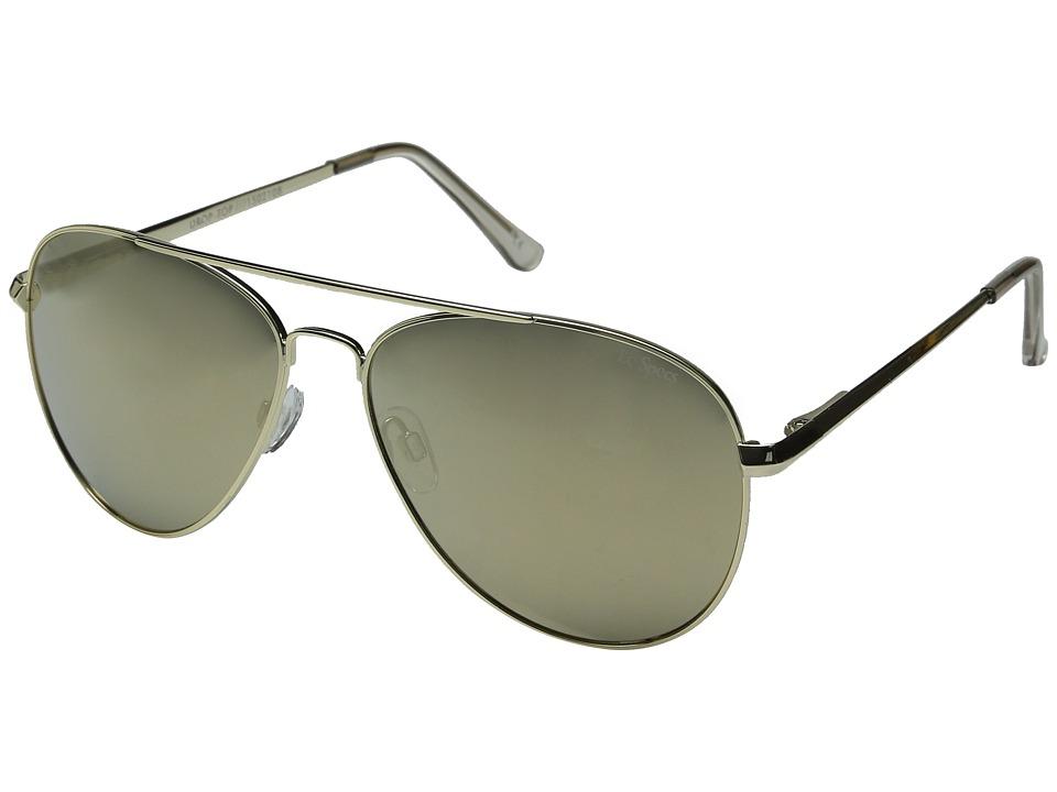 Le Specs Drop Top Gold/Gold Revo Mirror Fashion Sunglasses