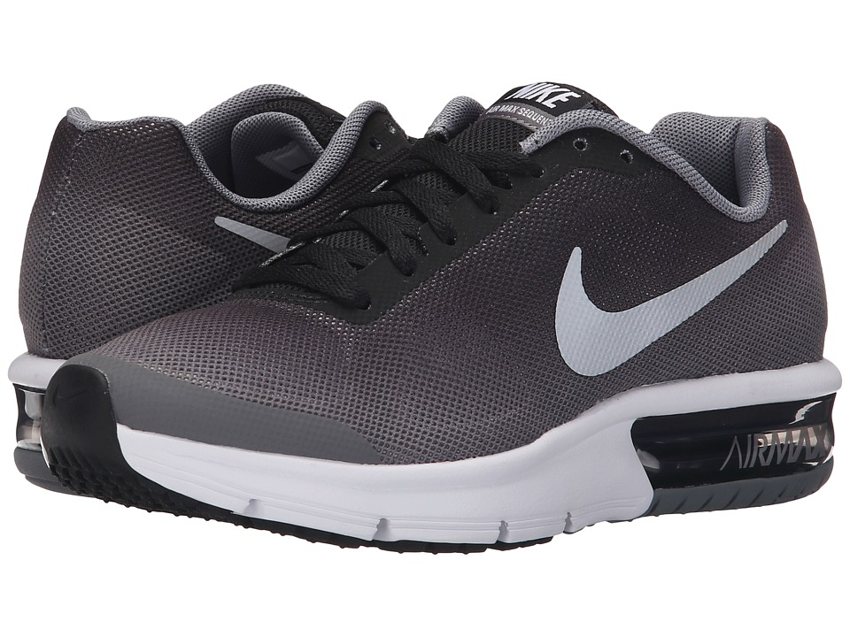 Nike Kids Air Max Sequent (Big Kid) (Black/Wolf Grey/White/Metallic Silver) Boys Shoes