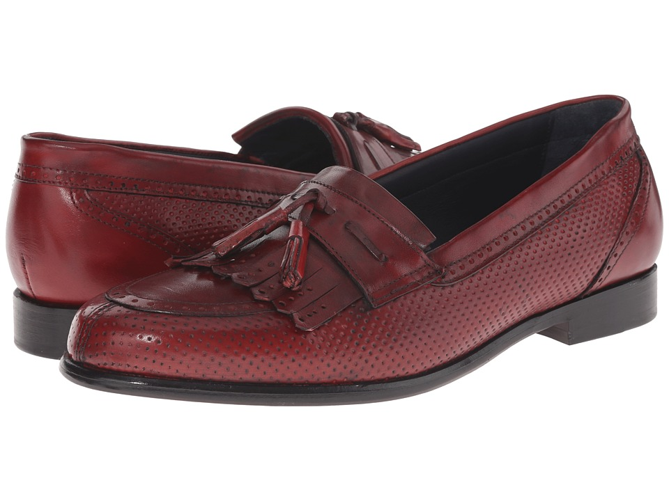 Messico Roman Red Leather Mens Dress Flat Shoes