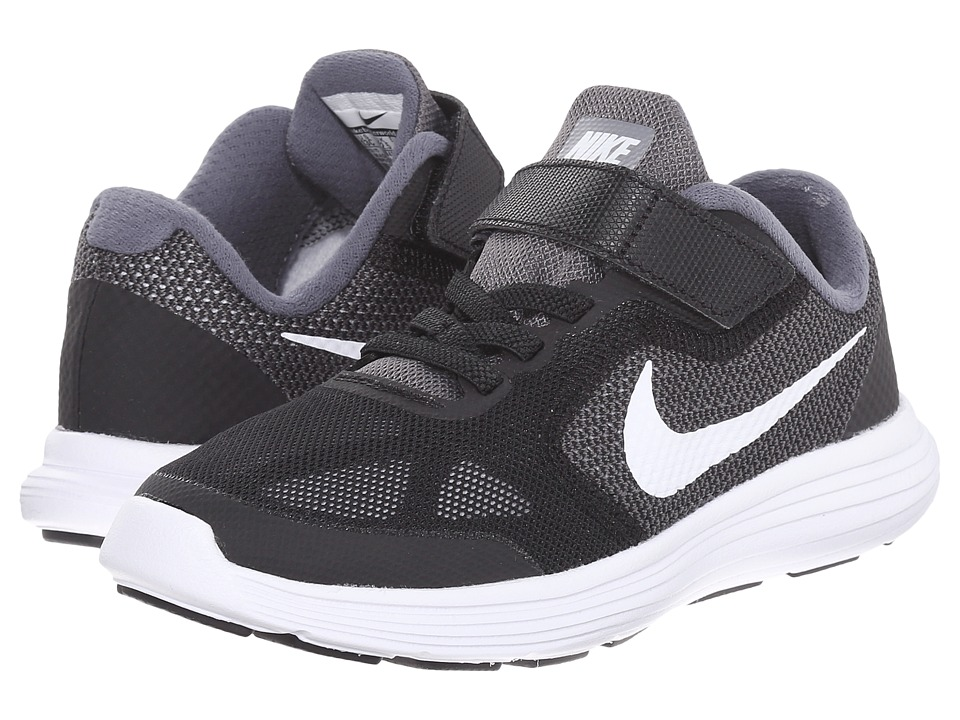 Nike Kids Revolution 3 (Little Kid) (Dark Grey/Black/Wolf Grey/White) Boys Shoes