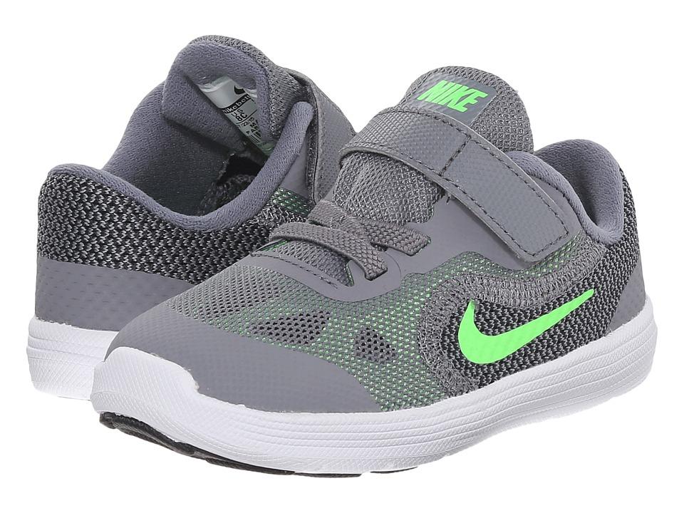 Nike Kids Revolution 3 Infant/Toddler Cool Grey/White/Black/Voltage Green Boys Shoes