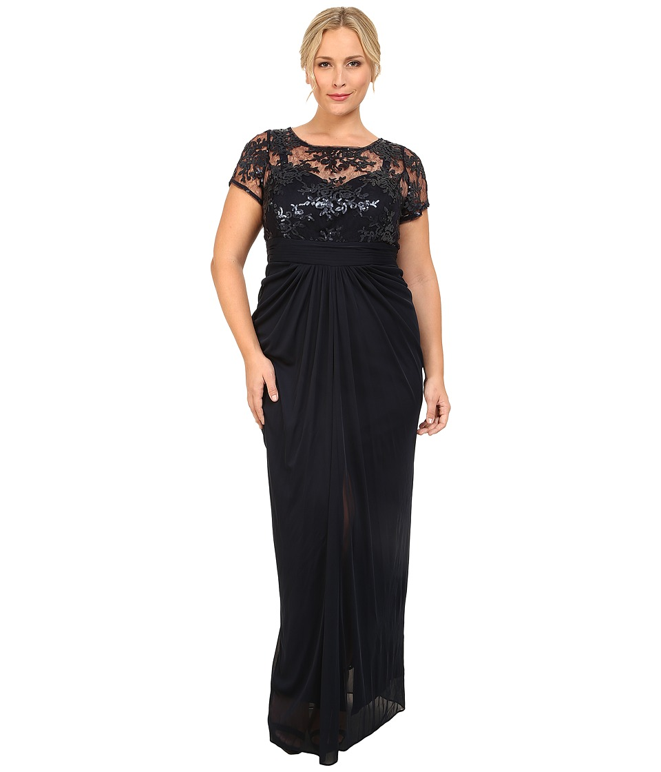 Adrianna Papell - Plus Size Embroidered Sequined Bodice Gown Navy Womens Dress $209.00 AT vintagedancer.com