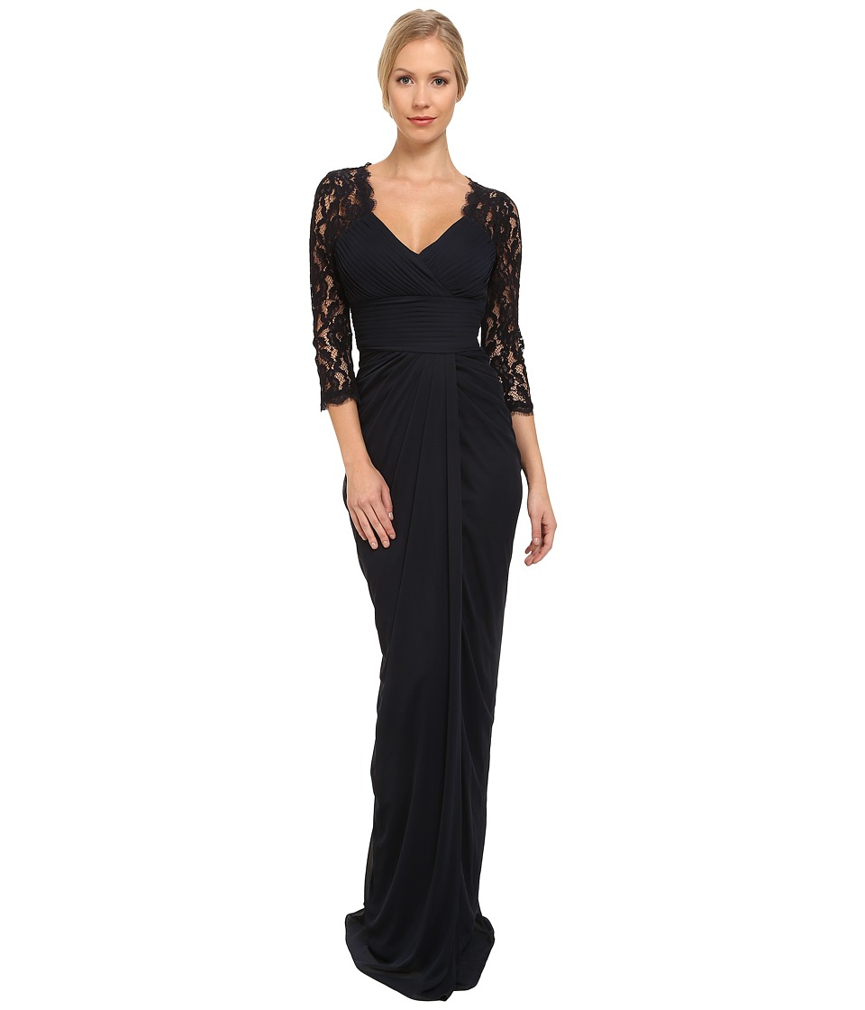Adrianna Papell - Lace Raglan Gown (Ink) Women's Dress